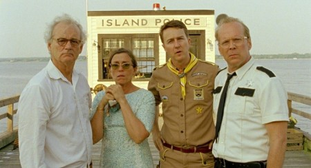 From left: Bill Murray, Frances McDormand, Edward Norton and Bruce Willis in Wes Anderson's Moonrise Kingdom (2012).