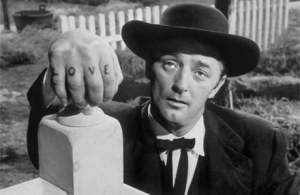 Robert Mitchum in The Night of the Hunter (1955).