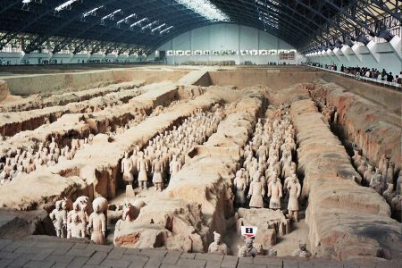 A portion of the life-sized warriors of the Terracotta Army.