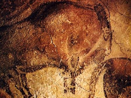A painted bison from Altamira Cave.