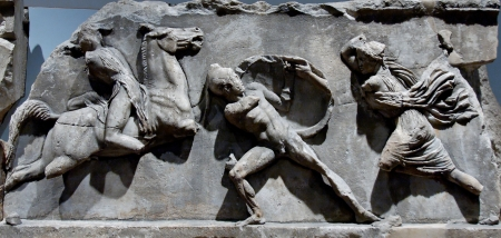 Detail of the Amazonomachy, a frieze carved on the Mausoleum of Halicarnassus.