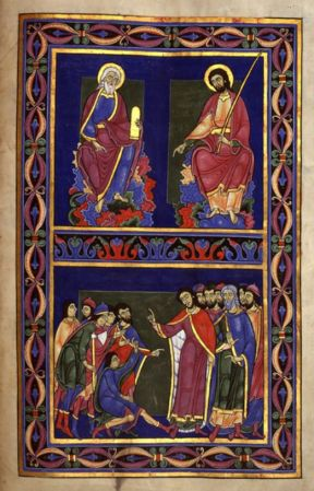 Scenes from an illuminated page in the Bury Bible.