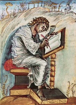 A portrait of St. Matthew from the Ebbo Gospels.