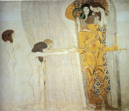 klimt beethoven-frieze-the-longing-for-happiness-left-wall