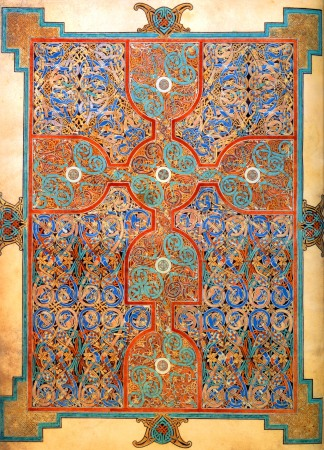 A carpet page from the Lindisfarne Gospels.