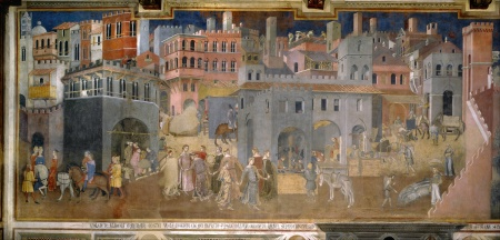 A portion of Lorenzetti's Effects of Good Government fresco.