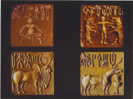 Seals found at the Indus Valley city of Mohenjo-Daro.