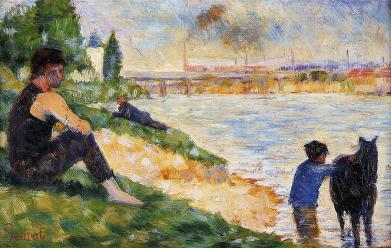 seurat black-horse-study-for-bathers-at-asnieres-georges-seurat