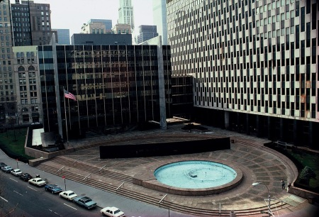 Richard Serra's Tilted Arc, which has since been removed following citizen protests.