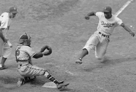Jackie Robinson steals home.