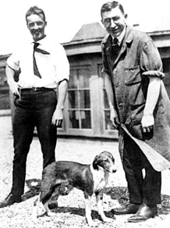 Banting and Best with one of the diabetic dogs they used to test insulin.
