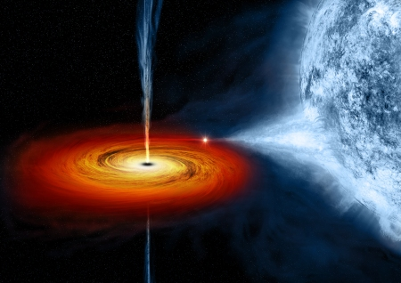 An artist's depiction of the black hole near the star Cygnus X-1. It formed when a large star caved in. This black hole pulls matter from blue star beside it. Image Credit: NASA/CXC/M.Weiss