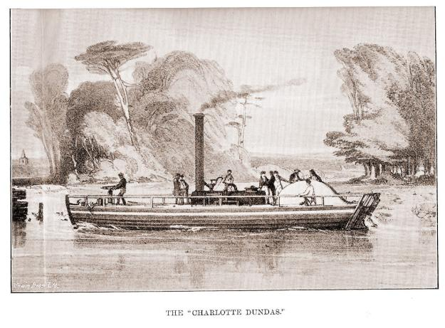 An artist's depiction of the Charlotte Dundas under way.