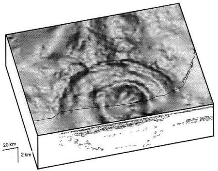 A view of the Chicxulub impact crater in the Yucatan based on seismic readings.