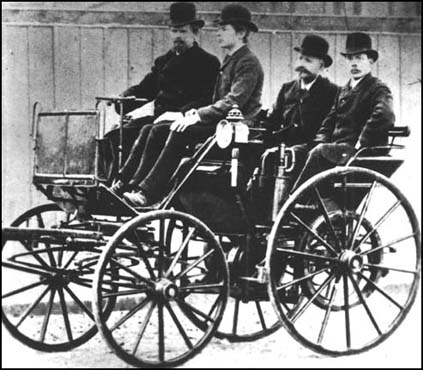 An 1886 photograph of a gasoline-powered automobile designed by Gottfried Daimler.