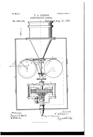 An 1897 patent application for a Kinetographic Camera made by William Dickson and Thomas Edison. The original camera was made in 1890.