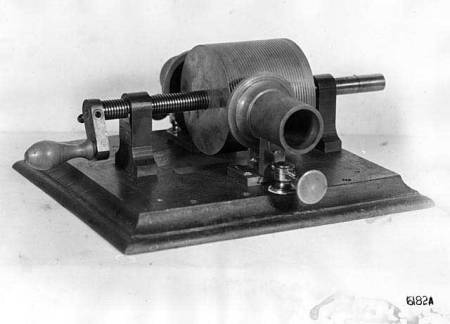 Thomas Edison's original phonograph, which made recordings on tin foil.