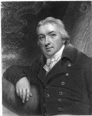 An engraving taken from an 1833 portrait of Edward Jenner (1749-1823).