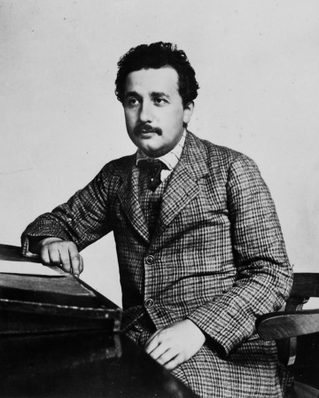 A photograph of Albert Einstein (1879-1955) in about 1905.