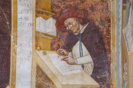 Detail of 1352 portrait of Hugh de Provence wearing eyeglasses, by Tommaso de Moderna.