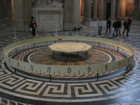 An exact replica of Foucault's original 1851 pendulum hung in the Panthéon in Paris from 1995 to 2014, when it was removed temporarily to allow for repairs to the building.