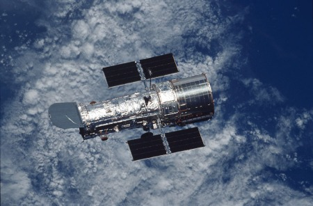 A photo of the Hubble Space Telescope taken by the crew of the Space Shuttle Columbia in 2002.