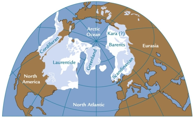 An illustration of the extent of glaciation at the height of the last ice age, about 20,000 years ago.