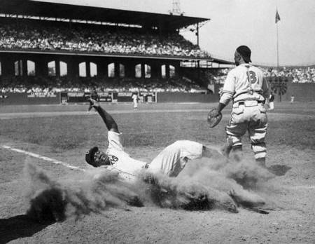 Josh Gibson Sliding into Home