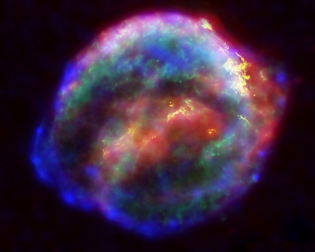 A multiwavelength X-ray, infrared, and optical compilation image of Kepler's supernova remnant, SN 1604.