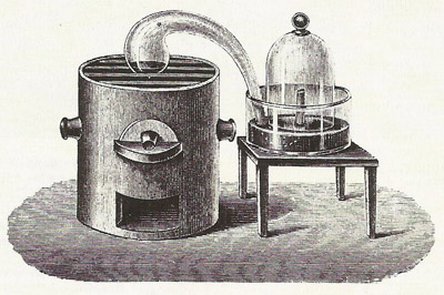 A drawing of one of the experiments Lavoisier conducted to discover the nature of combustion.