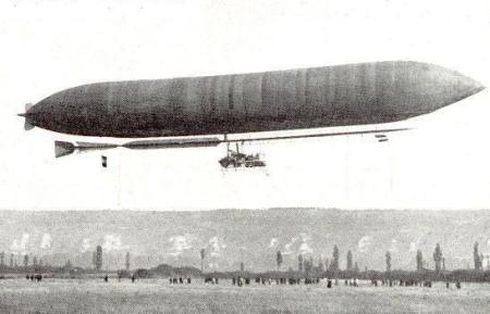 A 1910 photograph of the Lebaudy Morning Star Airship, which crossed the English Channel.