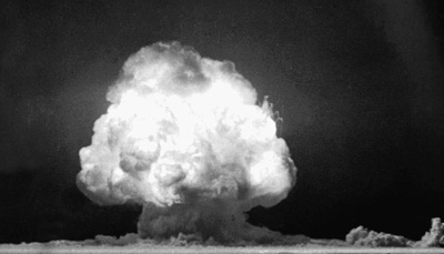 The first atomic bomb explodes on July 16, 1945 in New Mexico.