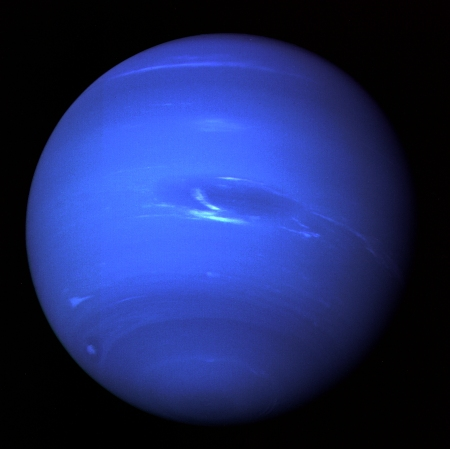 A 1989 photograph of Neptune taken by the Voyager 2 spacecraft.