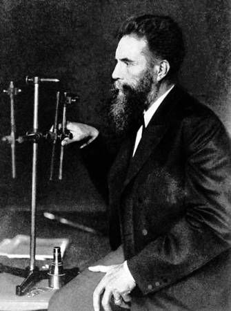 A photograph of Wilhelm Röntgen (1845-1923).