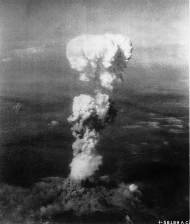 Mushroom cloud over Hiroshima after atomic blast.