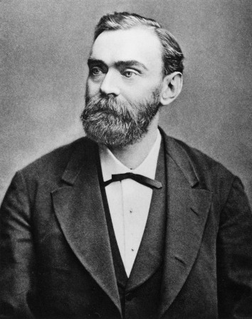 A photograph of Alfred Nobel.