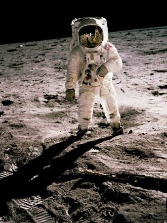 American astronaut Buzz Aldrin on the surface of the moon on July 20, 1969. Photo by Neil Armstrong.