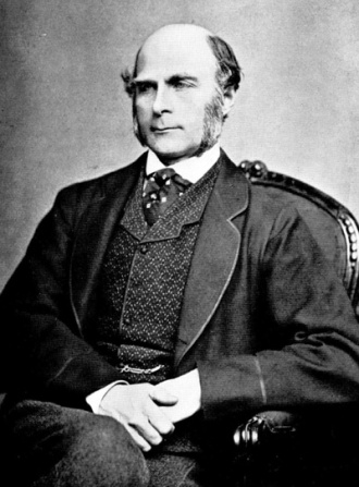 A photograph of Francis Galton from the 1850s.