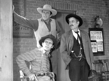 James Arness, Milburn Stone and Dennis Weaver (clockwise from top)