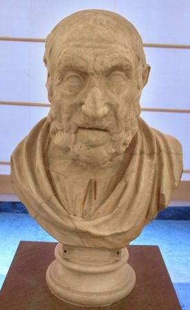 A replica of a Greek bust of Hippocrates from about 150 CE.