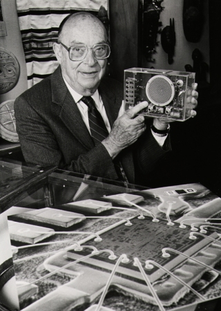 John Bardeen with a transistor.