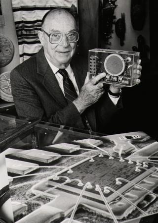 John Bardeen with a transistor.