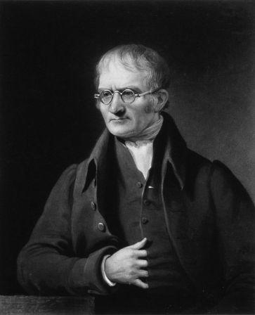 An 1834 portrait of John Dalton by Charles Turner.