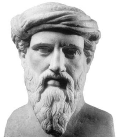A marble bust of Pythagoras.