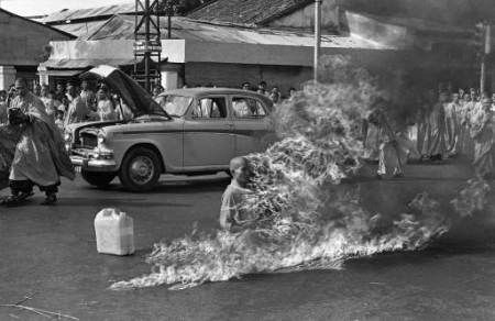 Malcolm Browne's photo of Quang Duc, a Buddhist monk, committing suicide on a Saigon street on June 11, 1963 to protest persecution of Buddhists by the South Vietnamese government.