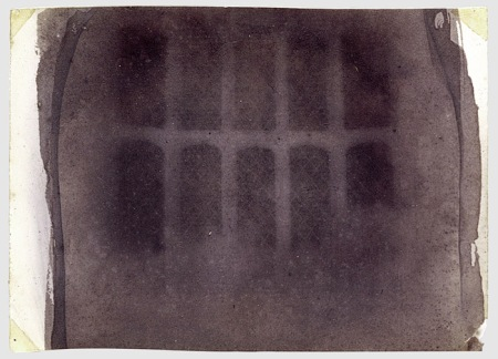 Latticed Window at Lacock Abbey, Talbot's first negative image using the calotype process.