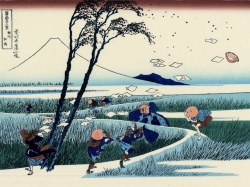 travellers-caught-in-a-sudden-breeze-at-ejiri-ca-1832-a-woodprint-by-katsushika-hokusai