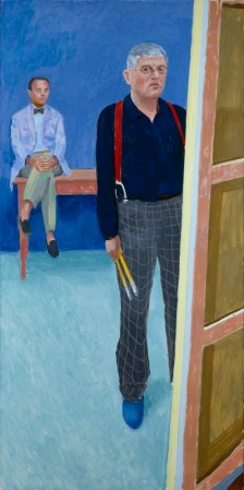 Self-Portrait with Charlie, by David Hockney (2005).