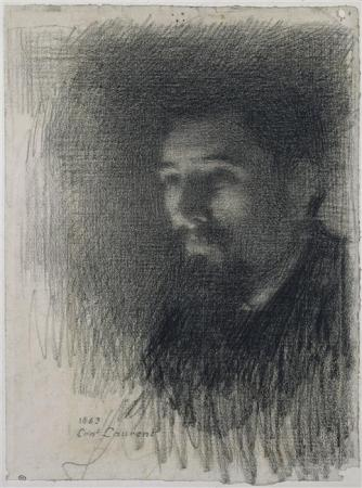 An 1883 drawing of Georges Seurat by Ernest Laurent.