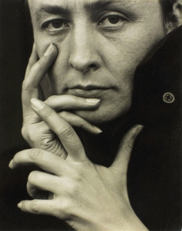 A 1918 photograph of Georgia O'Keeffe by Alfred Stieglitz.